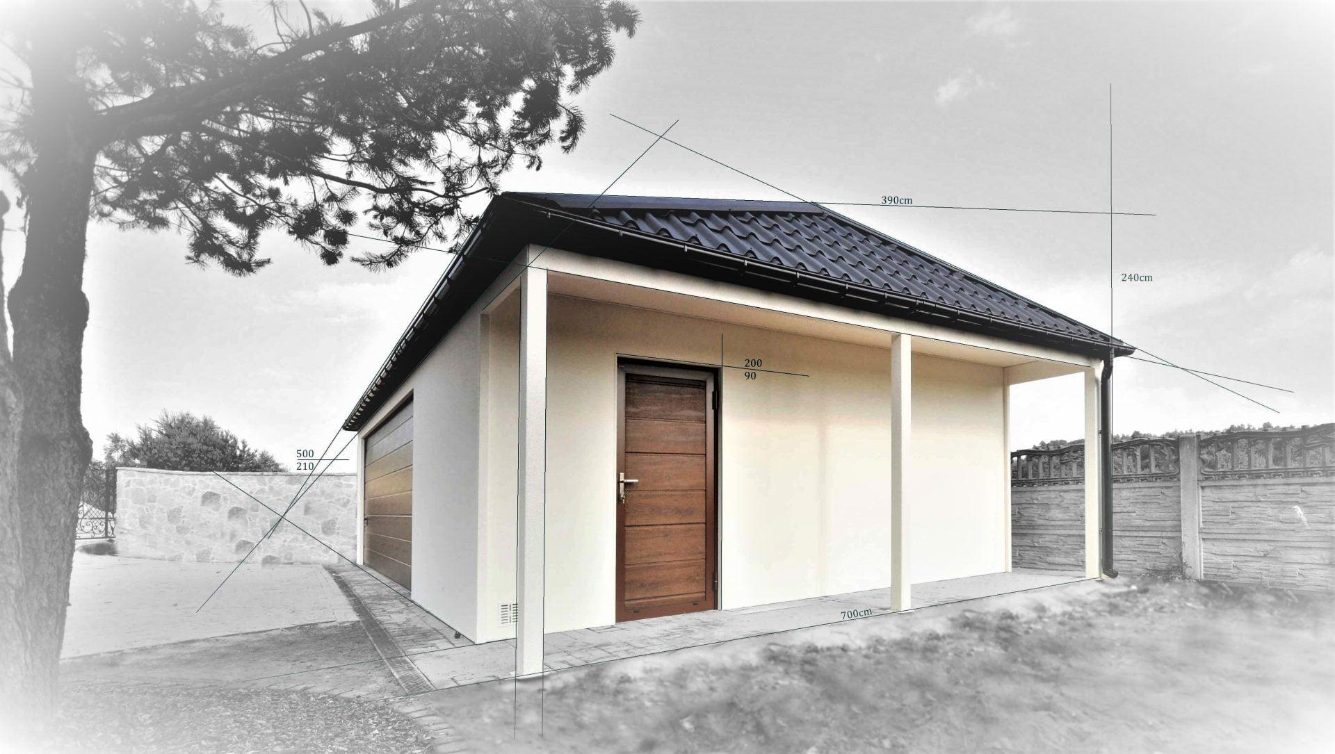 Konstrukcja garażu tynkowanego i ocieplanego z czterospadowym dachem - model wolnostojący